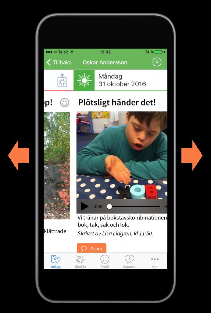 Bläddra i appen genom att svepa med fingret till vänster eller höger