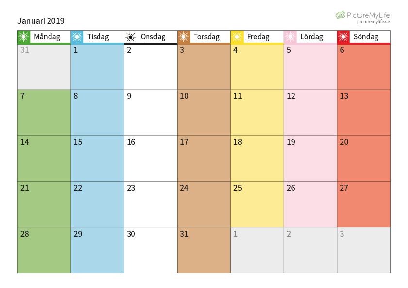 Januari månadsschema, 2019